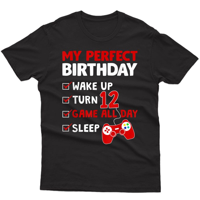 12th Birthday Party Perfect Gift For Gamer 12 Years Old Boy T-shirt
