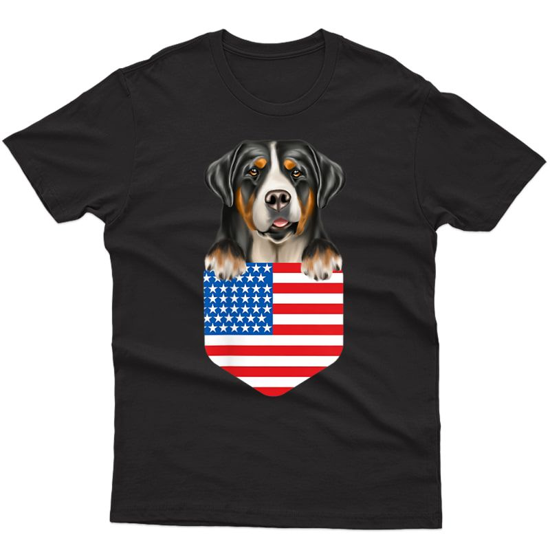 America Flag Greater Swiss Mountain Dog Dog In Pocket T-shirt