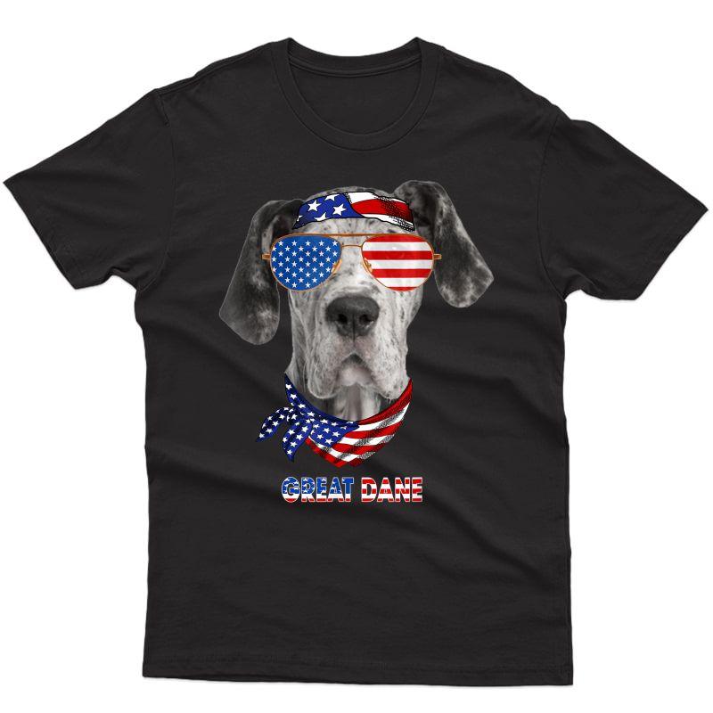 American Flag Shirts Great Dane Dog Lover Gifts T-shirt
