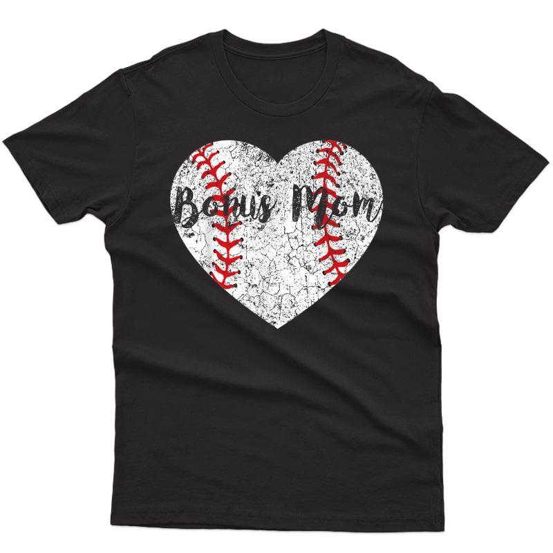 Baseball Softball Ball Heart Bonus Mom Mother's Day T-shirt