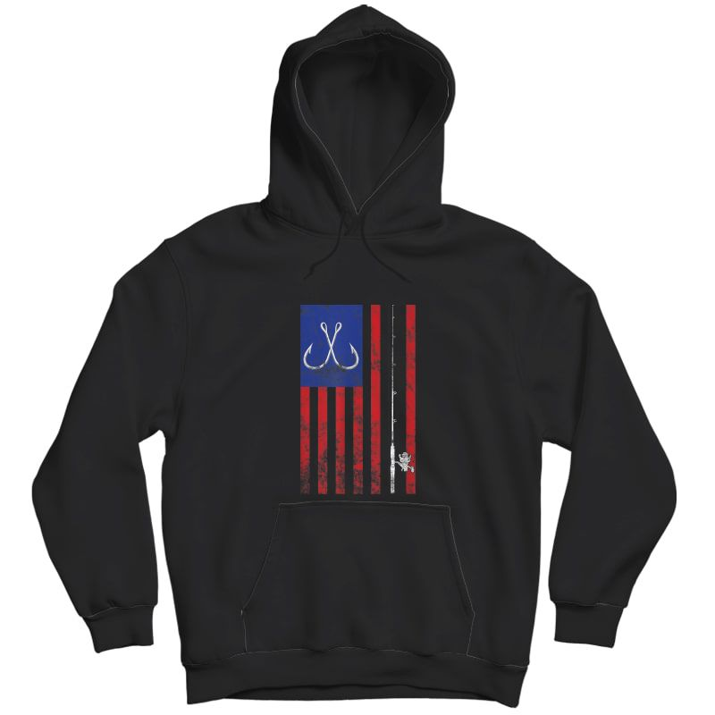 Bass Fishing Pole American Flag Color Vintage T-shirt Unisex Pullover Hoodie