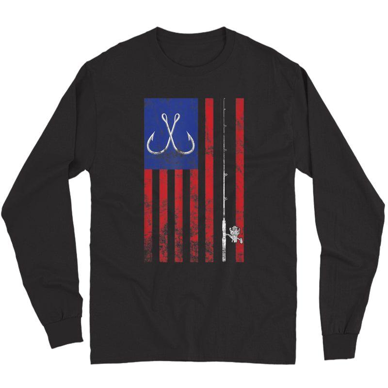 Bass Fishing Pole American Flag Color Vintage T-shirt Long Sleeve T-shirt