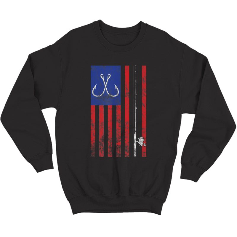 Bass Fishing Pole American Flag Color Vintage T-shirt Crewneck Sweater