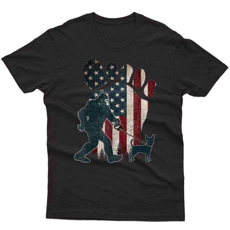 Walking Chihuahua Silhouette American Usa Flag Dog T-shirt