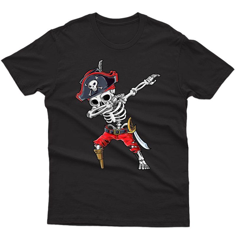 Dabbing Skeleton Pirate T Shirt Halloween Jolly Roger
