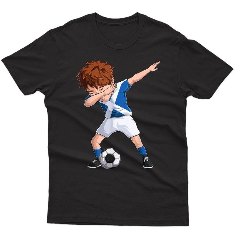 Dabbing Soccer Boy Scotland Shirt - Scottish Football T-shirt