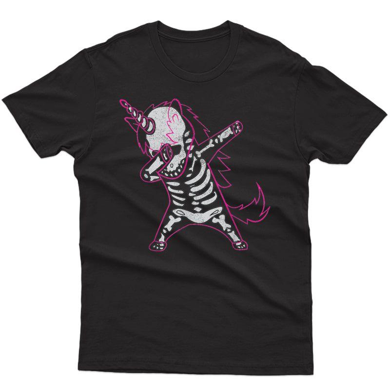 Dabbing Unicorn Skeleton Halloween Costume Gift T-shirt