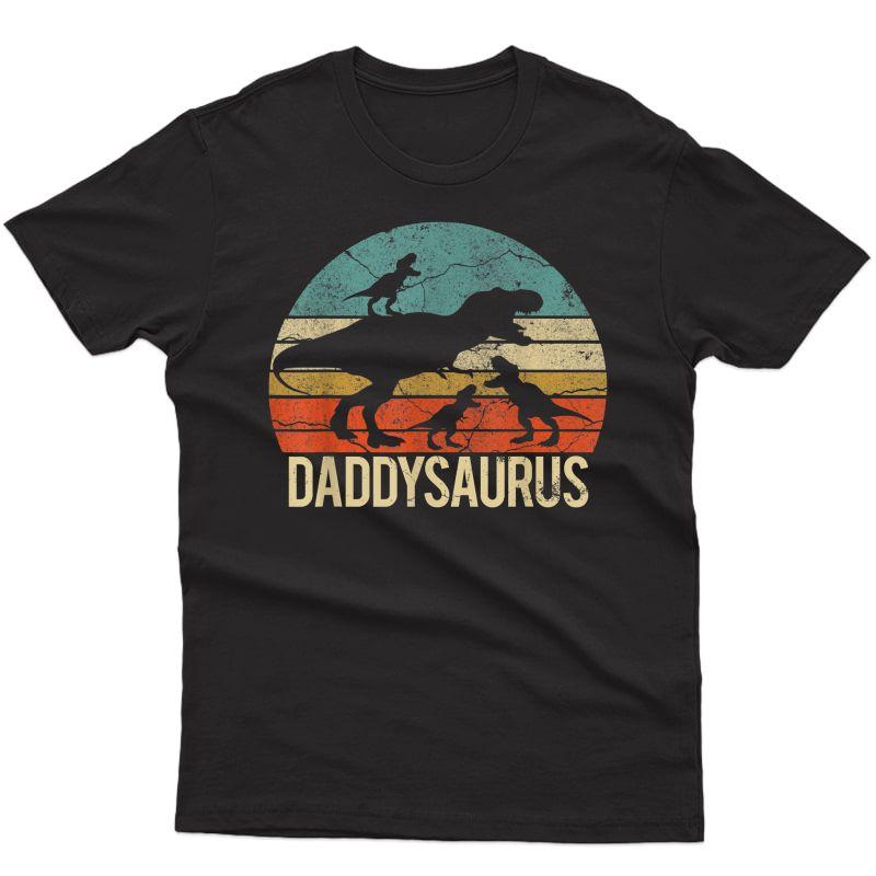 Daddy Dinosaur Daddysaurus 3 Three Xmas Christmas Gift T-shirt