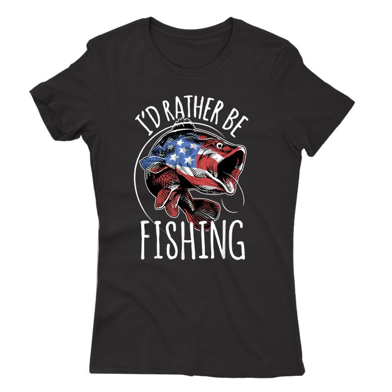 Fishing Shirt Usa Flag Fish | I'd Rather Be Fishing T-shirt