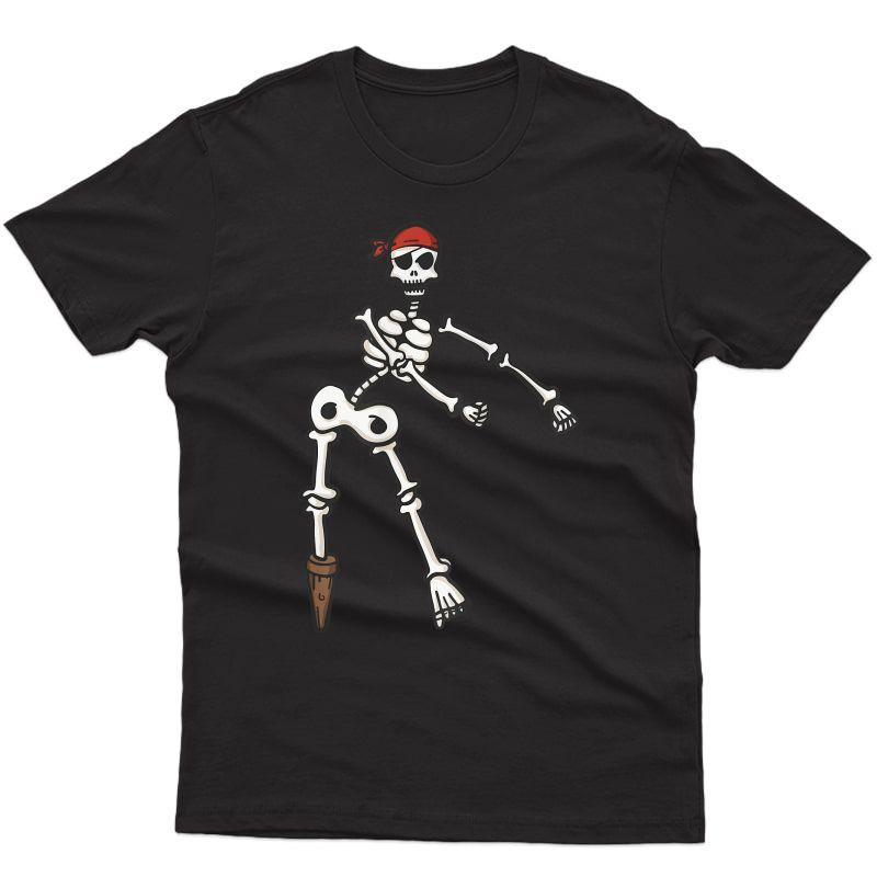Floss Dance Skeleton Pirate Shirt   Halloween Flossing Gift