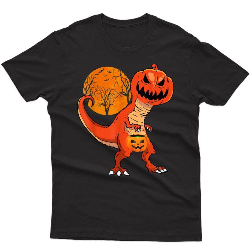 Funny Halloween Dinosaur Pumpkin Head Costume Gift For T-shirt