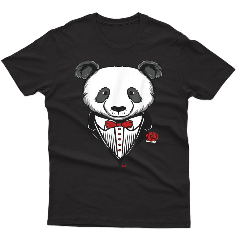 Funny Tuxedo Costume Panda T-shirt With Red Bow Tie