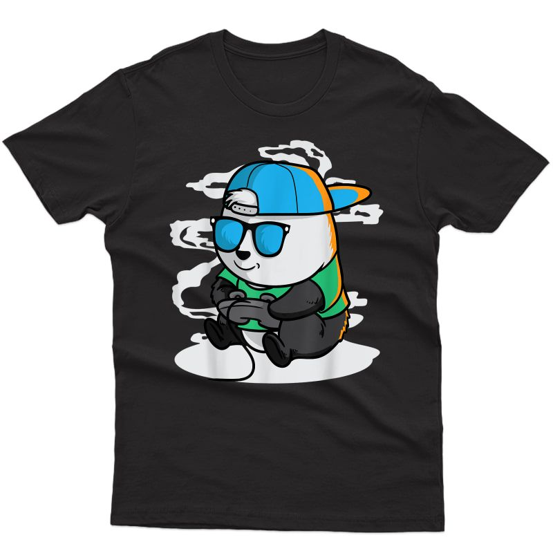 Gaming Panda Shirt Pew Gamer Playing Video Games Tee