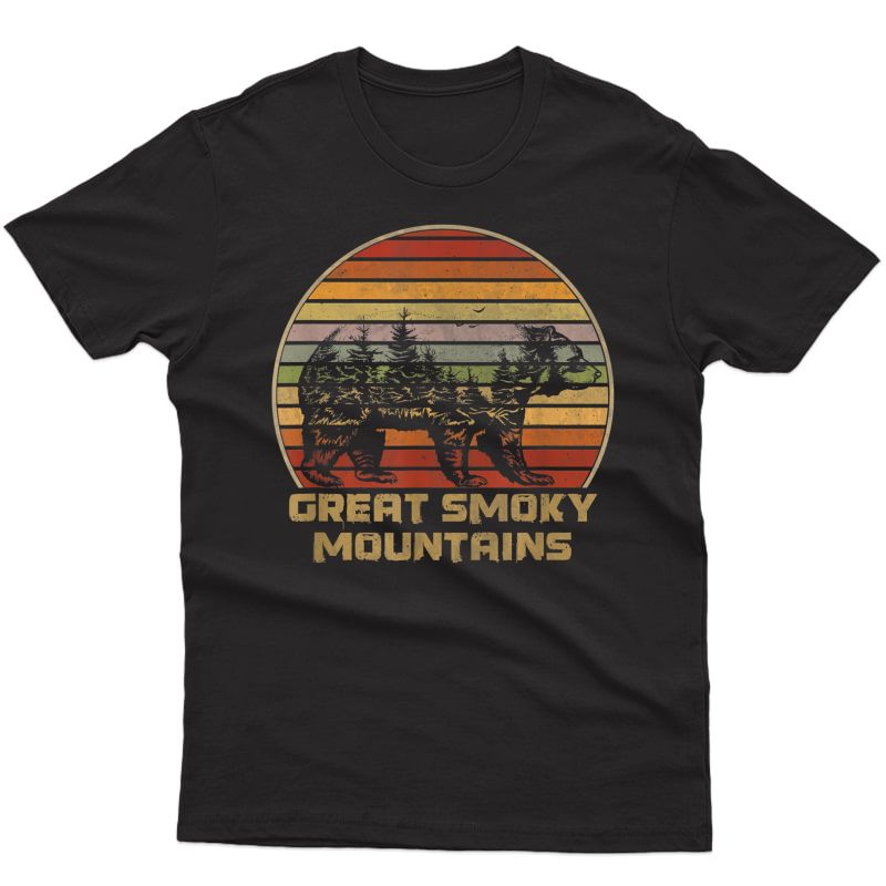 Great Smoky Mountains Vintage Grizzly Bear Nature Retro T-shirt