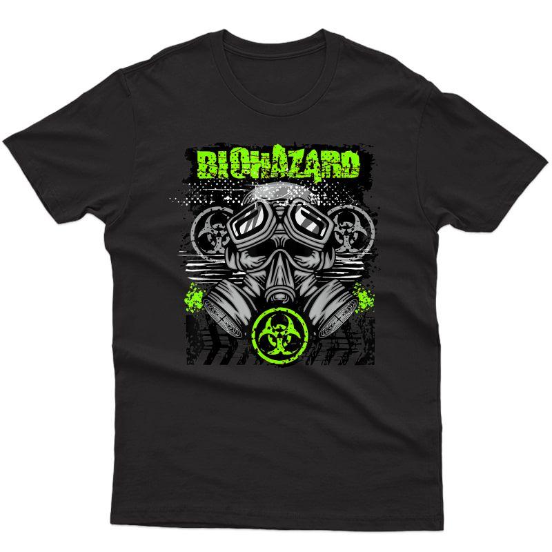 Green Biohazard Face Mask Funny Halloween T-shirt