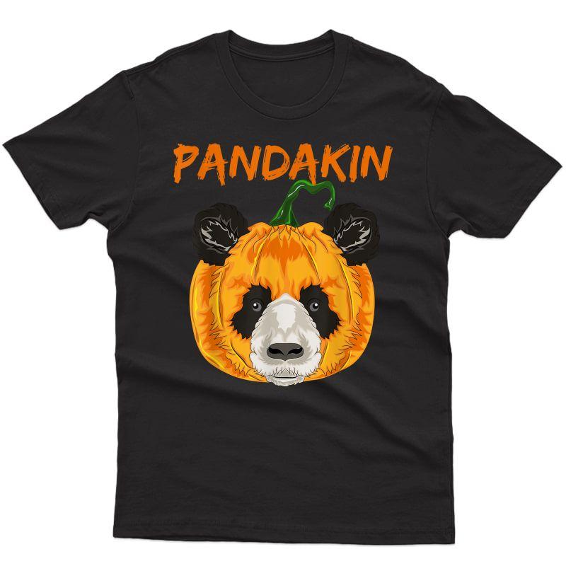 Halloween Panda Pumpkin Funny Party Costume Pandakin T-shirt
