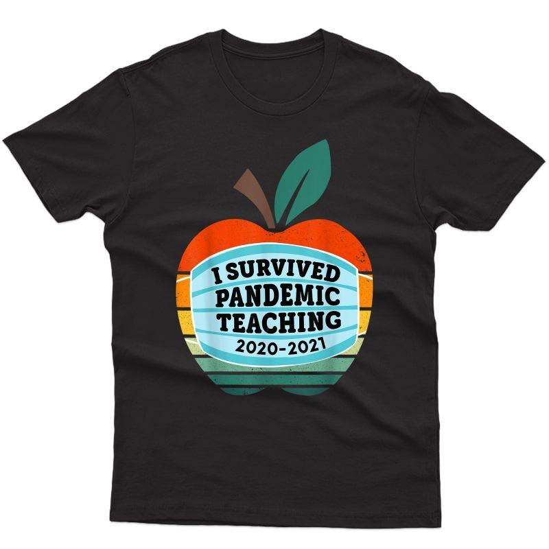 I Survived Pandemic Teaching 2020 2021 Retro Vintage Tea T-shirt