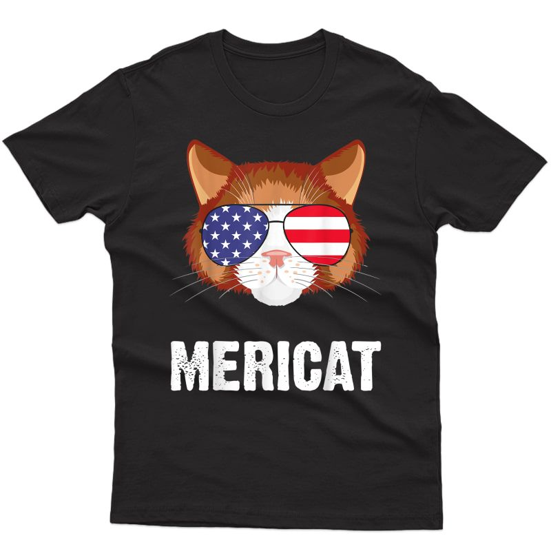 July 4th Funny Cat Independence Day Mericat T-shirt