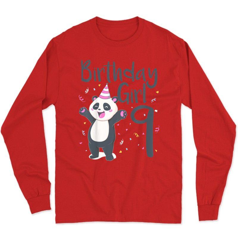 9 Year Old Panda Birthday Girl Cute Girls 9th Party Gift T-shirt Long Sleeve T-shirt