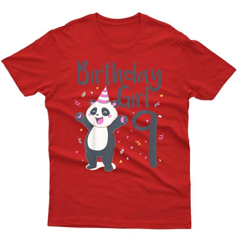 9 Year Old Panda Birthday Girl Cute Girls 9th Party Gift T-shirt