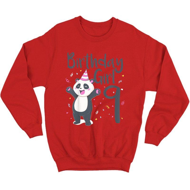 9 Year Old Panda Birthday Girl Cute Girls 9th Party Gift T-shirt Crewneck Sweater