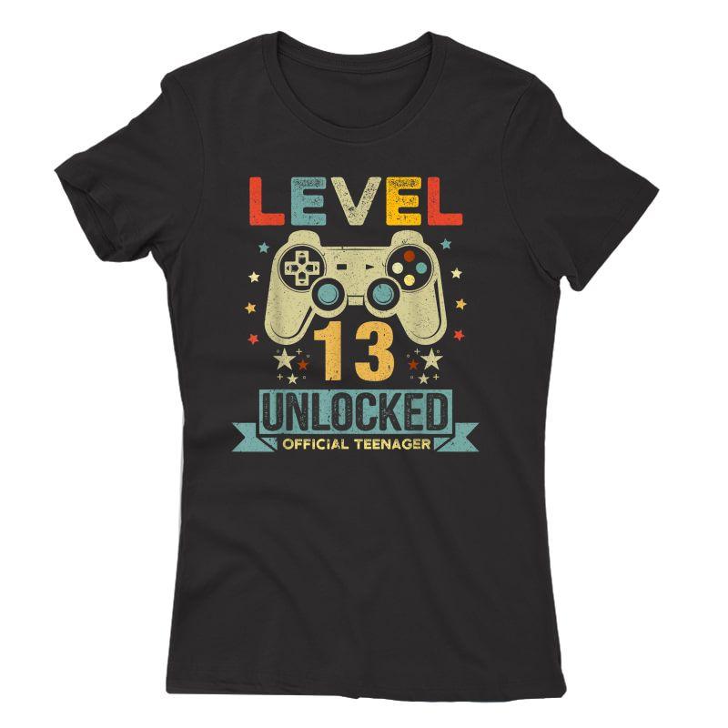 Level 13 Unlocked Teenager 13th Birthday Gamer Gift T-shirt