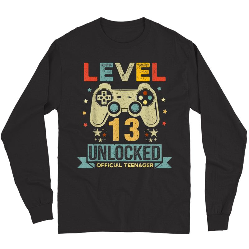 Level 13 Unlocked Teenager 13th Birthday Gamer Gift T-shirt Long Sleeve T-shirt