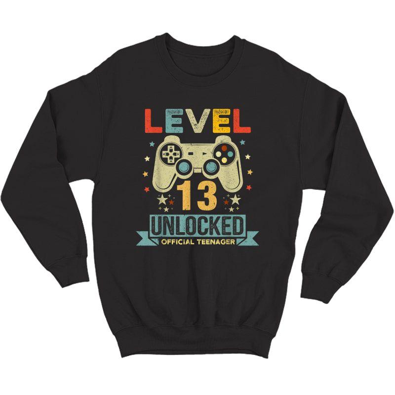 Level 13 Unlocked Teenager 13th Birthday Gamer Gift T-shirt Crewneck Sweater