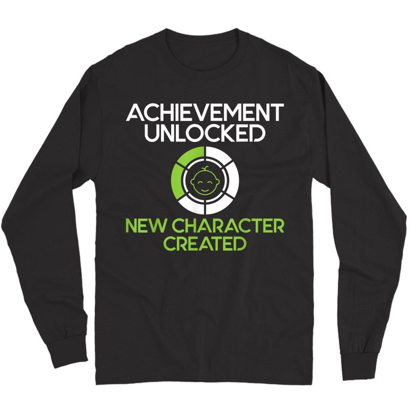 S Character Created New Dad Pregnancy Announcet Gamer Gift T-shirt Long Sleeve T-shirt