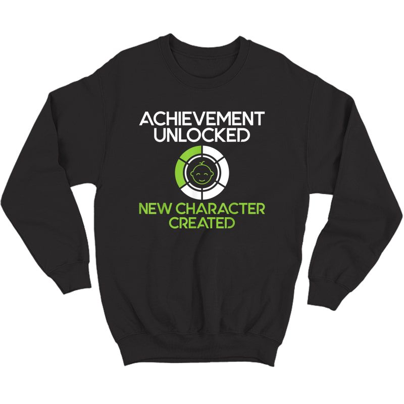 S Character Created New Dad Pregnancy Announcet Gamer Gift T-shirt Crewneck Sweater