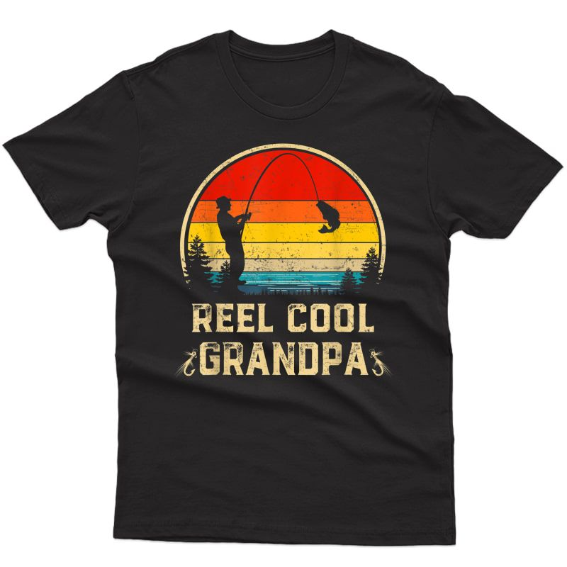 S Vintage Reel Cool Grandpa Fish Fishing Father's Day Gift T-shirt