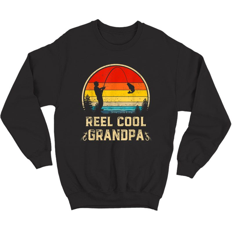 S Vintage Reel Cool Grandpa Fish Fishing Father's Day Gift T-shirt Crewneck Sweater