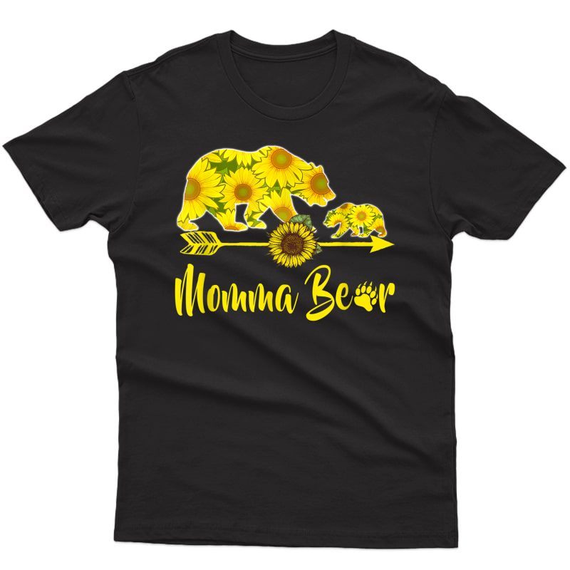 Momma Bear Sunflower T-shirt Funny Mother Father Gift T-shirt