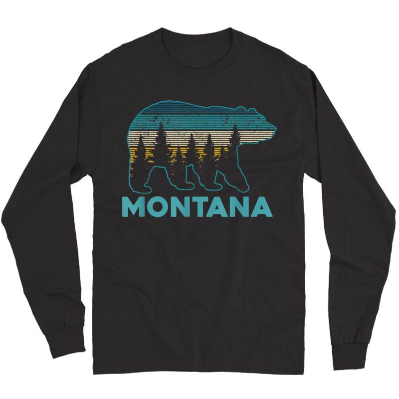 Montana Vintage Grizzly Bear Nature Hiking Souvenir Gift T-shirt Long Sleeve T-shirt