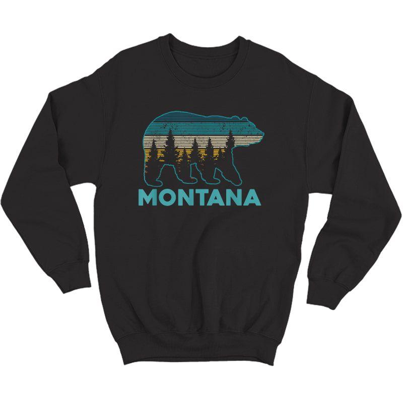 Montana Vintage Grizzly Bear Nature Hiking Souvenir Gift T-shirt Crewneck Sweater