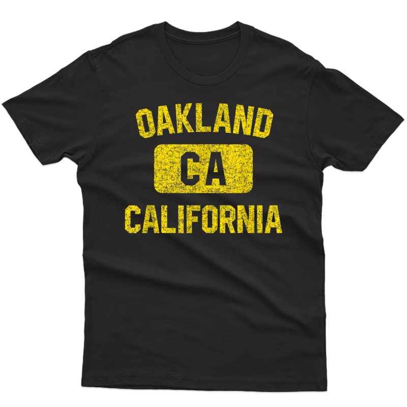 Oakland T Shirt - Gym Style Distressed Yellow Print