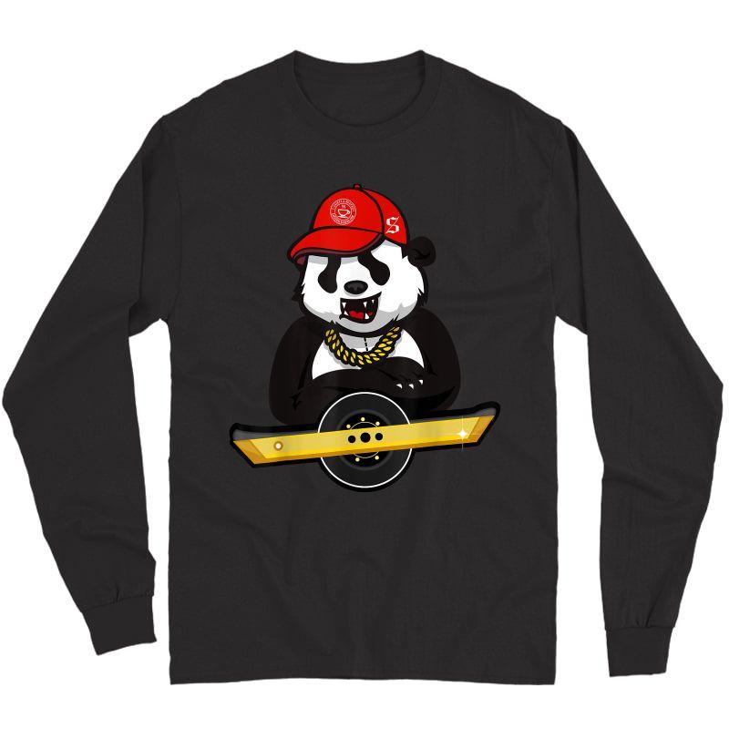 Panda Bear And Oso On Wheel Electric Skateboard T-shirt Long Sleeve T-shirt