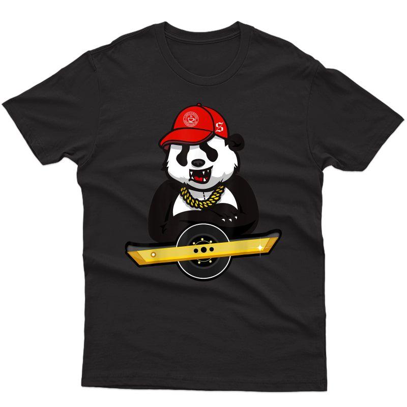 Panda Bear And Oso On Wheel Electric Skateboard T-shirt