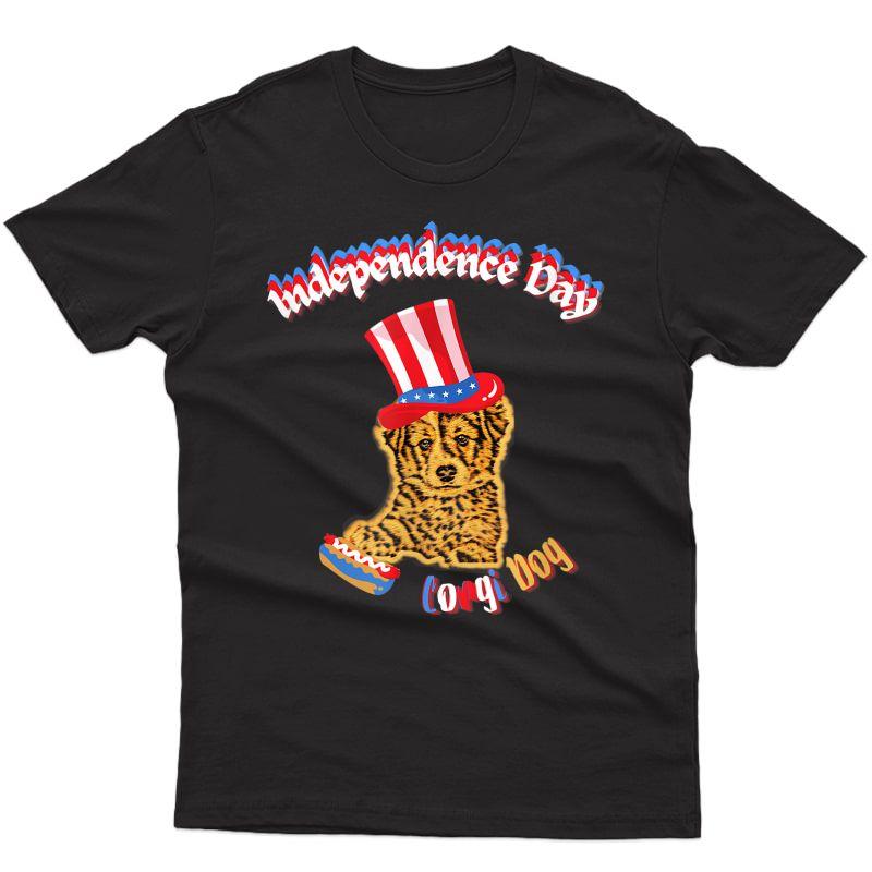 Patriotic Corgi Funny Cheeta Dog Independence Day Tshirt T-shirt