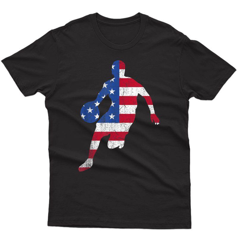 Patriotic Sports Gift Usa American Flag S Basketball T-shirt