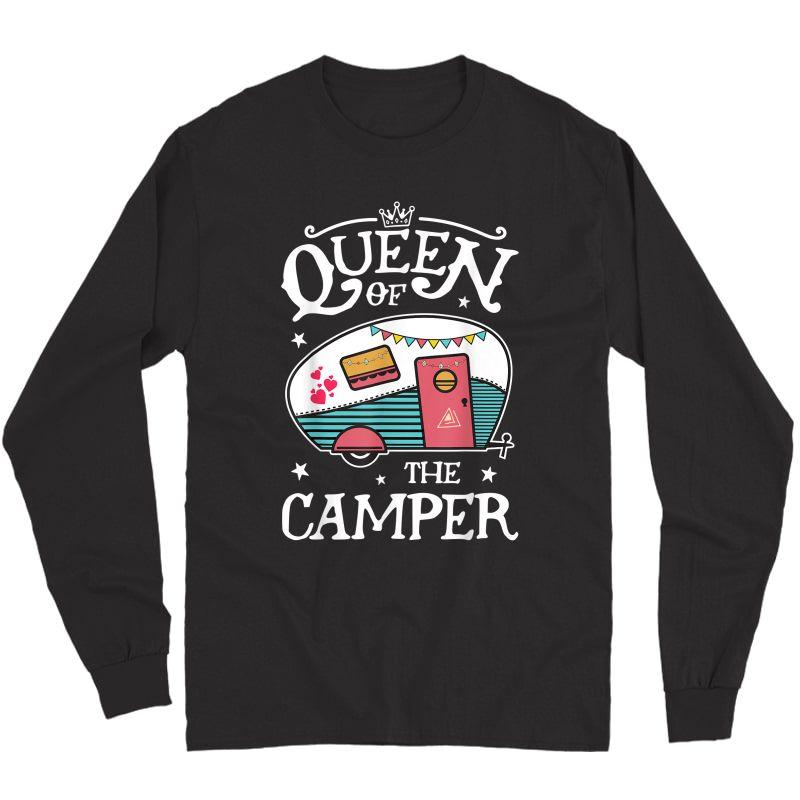 Queen Of The Camper T Shirt Outdoor Camping Camper Girls Tee T-shirt Long Sleeve T-shirt