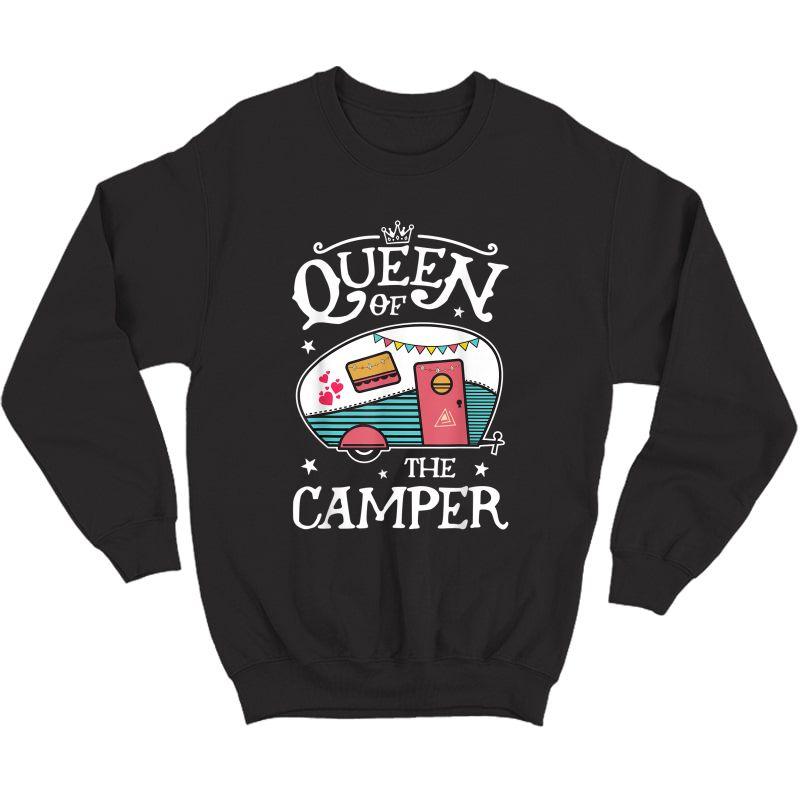 Queen Of The Camper T Shirt Outdoor Camping Camper Girls Tee T-shirt Crewneck Sweater