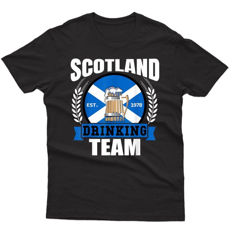 Scotland Drinking Team Funny Scottish Flag Beer Saltire Gift T-shirt
