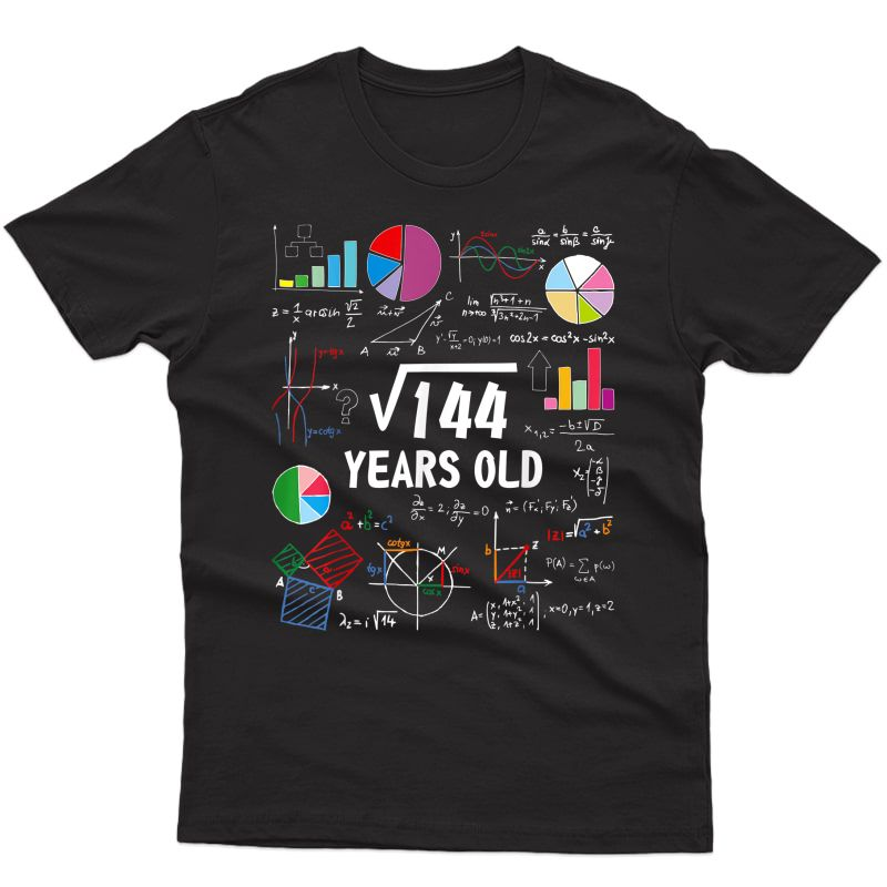 Square Root Of 144 12th Birthday 12 Year Old Gifts Math Nerd T-shirt