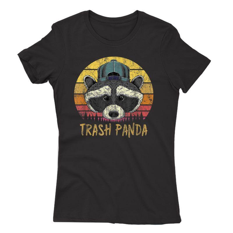 Trash Panda Raccoon Head Retro Sunset Funny Vintage Graphic T-shirt