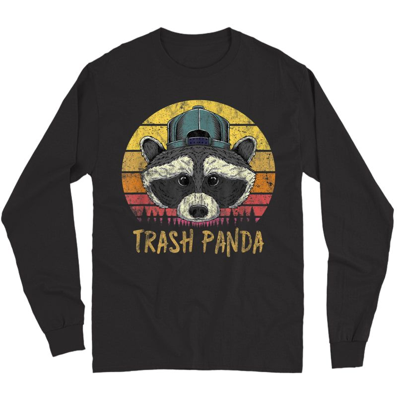 Trash Panda Raccoon Head Retro Sunset Funny Vintage Graphic T-shirt Long Sleeve T-shirt