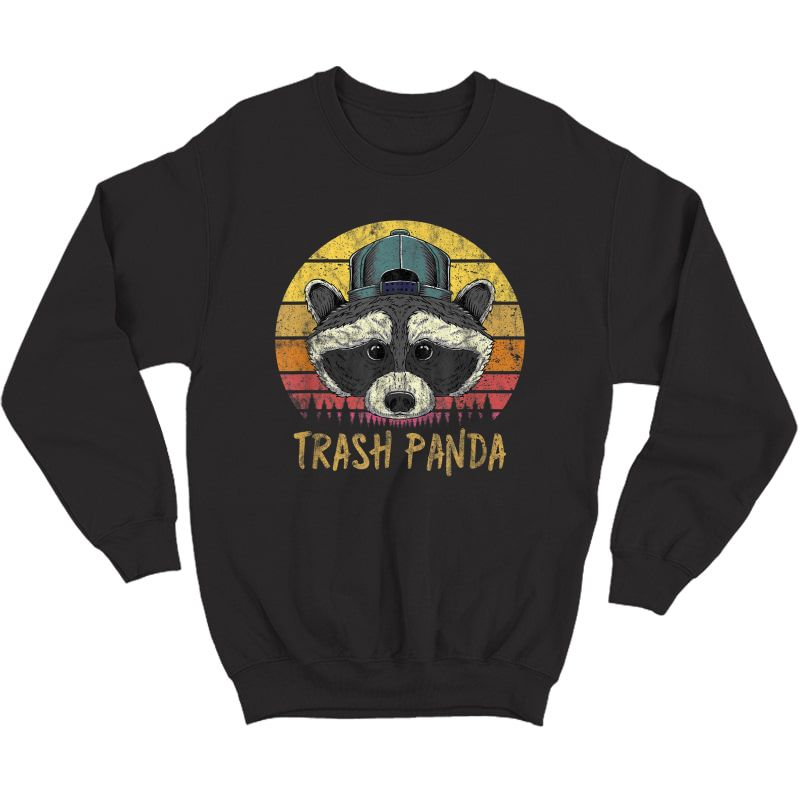 Trash Panda Raccoon Head Retro Sunset Funny Vintage Graphic T-shirt Crewneck Sweater