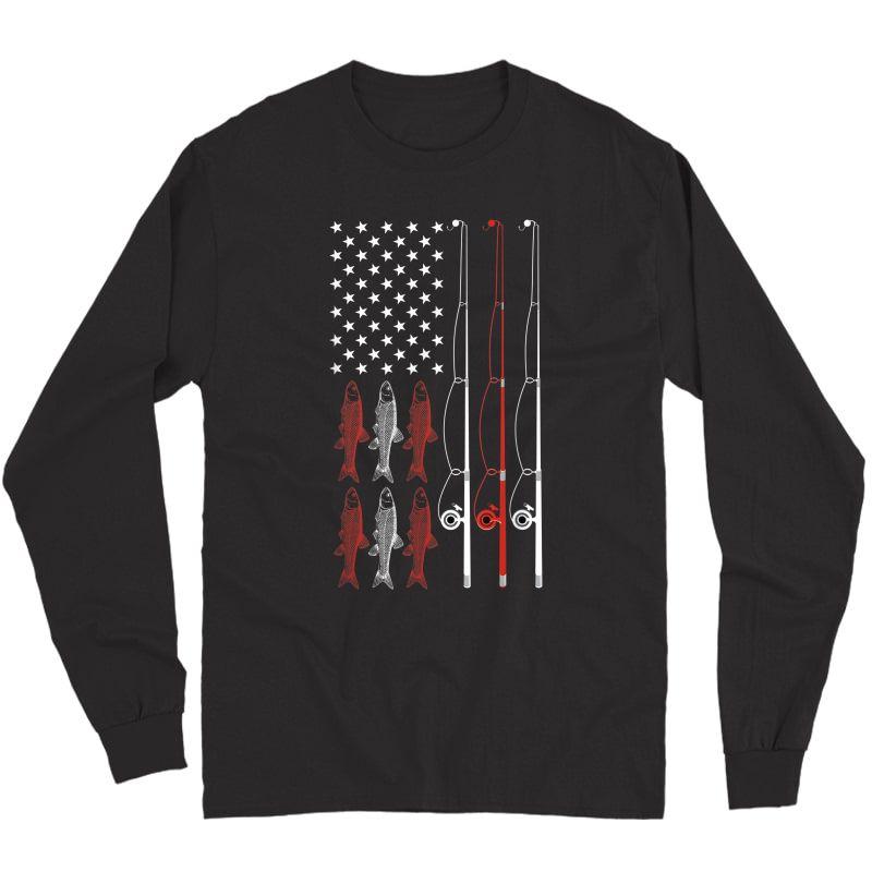 Usa Flag Fishing Dad Grandpa Vintage Fishing Dad T-shirt Long Sleeve T-shirt