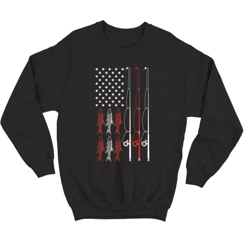 Usa Flag Fishing Dad Grandpa Vintage Fishing Dad T-shirt Crewneck Sweater