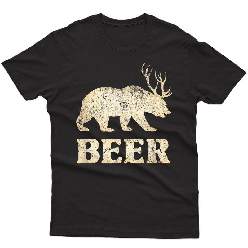 Vintage Bear Deer Funny Beer T-shirt